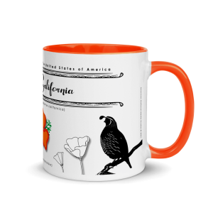 White ceramic mug with Color (orange) rim/ handle/ and inside – State Bird and Flower – State of California